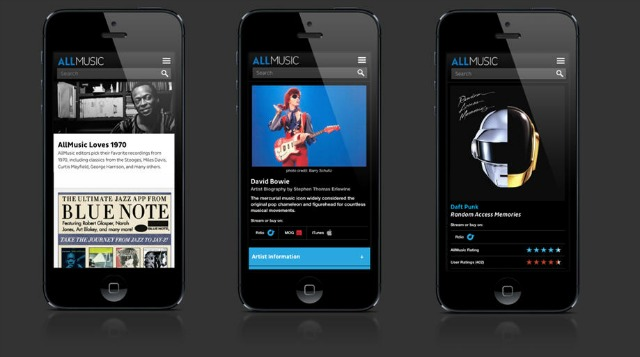 AllMusic mobile view